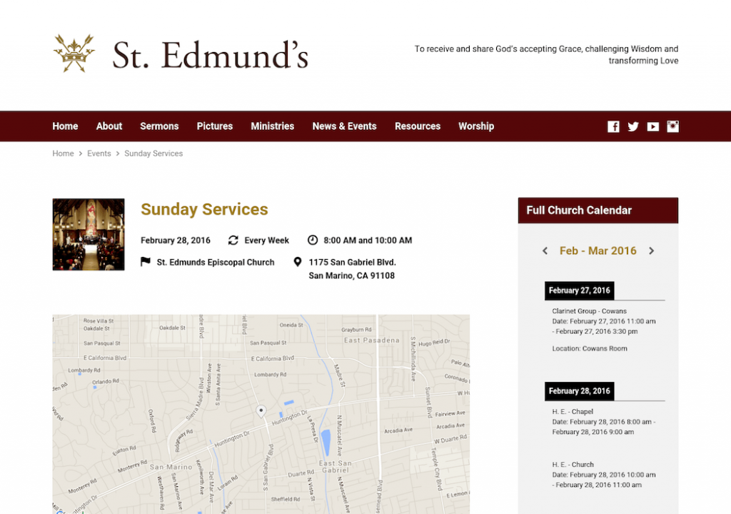 St. Edmund's Sunday Services